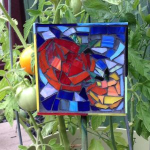 Glass Mosaic Garden Stakes_Stacey Adock