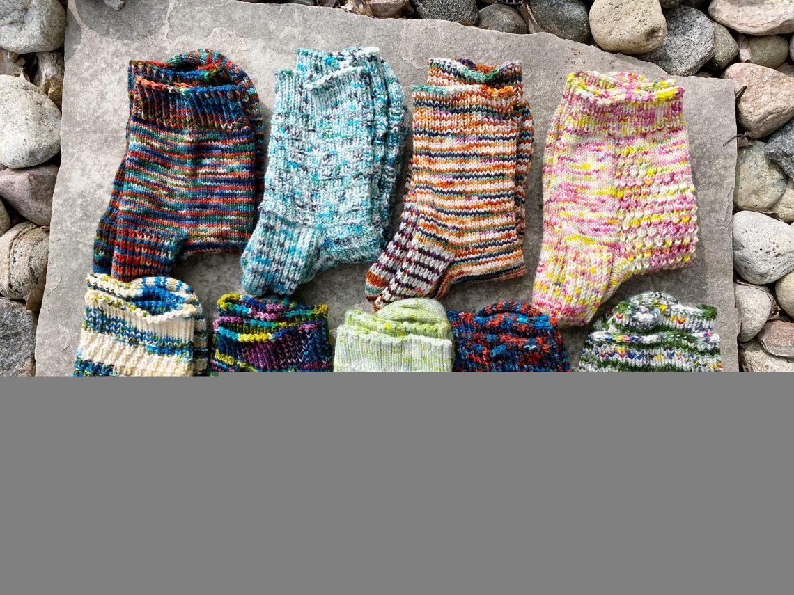 Nine Pairs of Handknit Socks