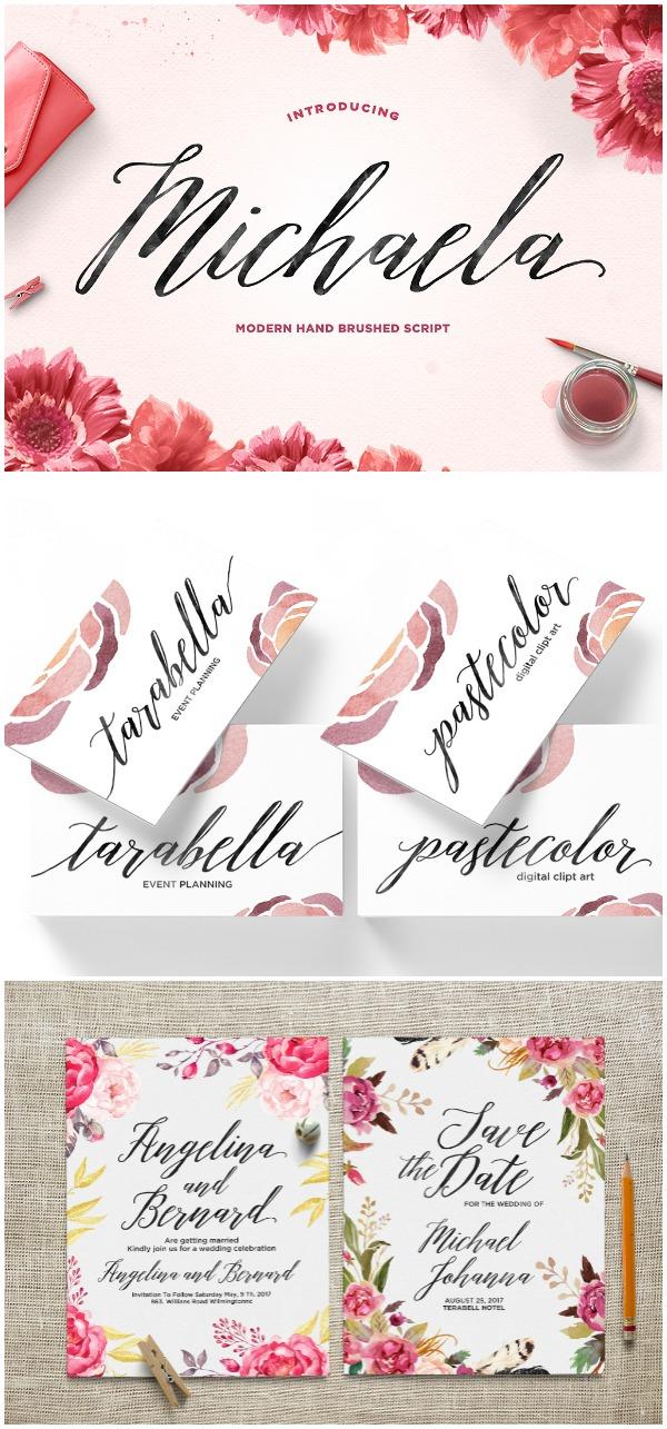 Favorite Fonts: Michaela Font. I love the slant to this script font. It is gorgeous!
