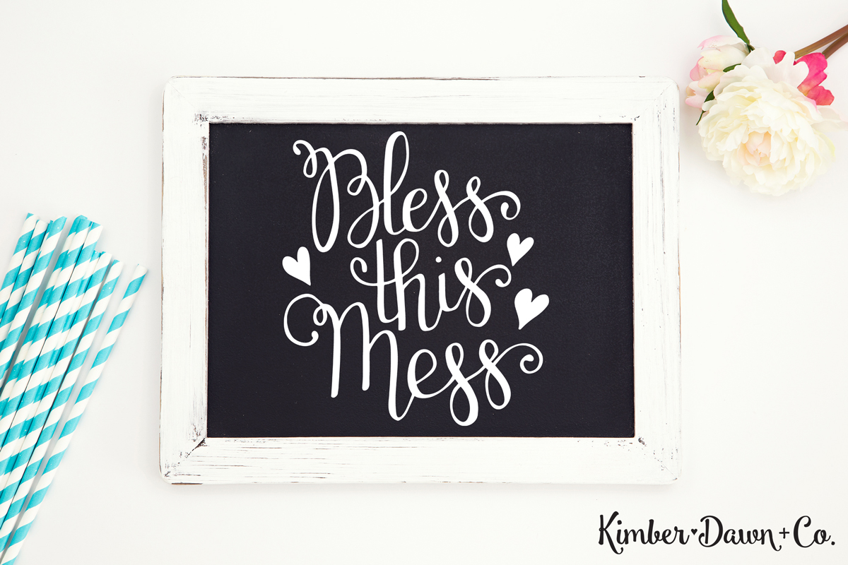 Hand Lettered Bless This Mess Free SVG Cut File