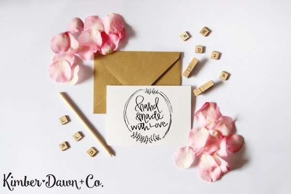 FREEBIE FRIDAY! Handmade with Love Hand Lettered SVG Cut File (plus PNG + Studio3)   KimberDawnCo.com