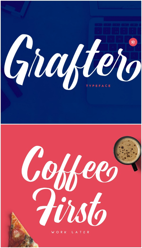 Grafter font- I love how this font is naturally bold. It would cut beautifully with a Silhouette CAMEO or Cricut!