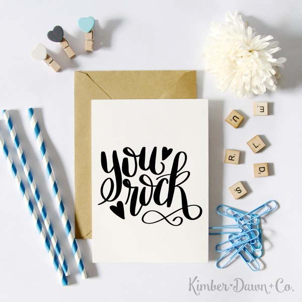 Freebie Friday! Hand Lettered You Rock Free SVG Cut File |KimberDawnCo.com