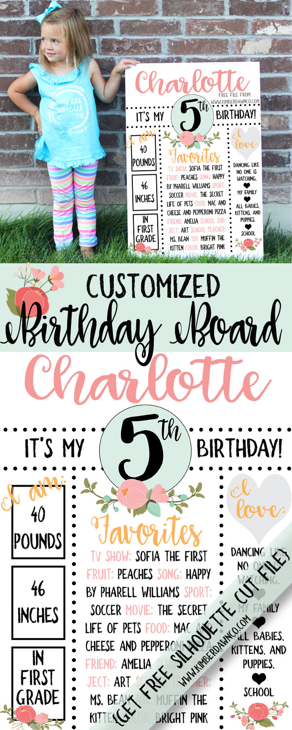 Grab this FREE Birthday Board Template in .SVG, .DXF and .PNG file formats to cut or print and customize for your little one's birthday!