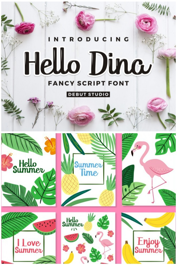 Hello Dina Script Font for Cutting