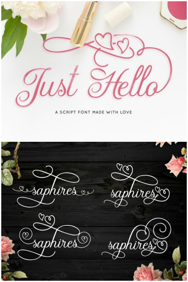 Just Hello Font with Hearts