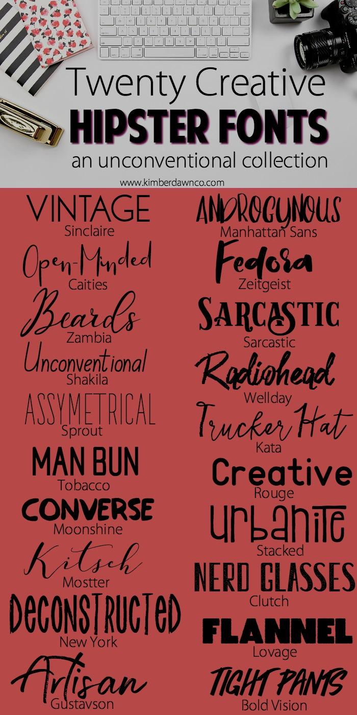 20 Hipster Fonts| www.kimberdawnco.com