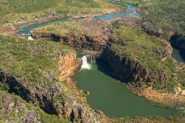 Aerial view of Mitchell Falls from a scenic helicopter flight