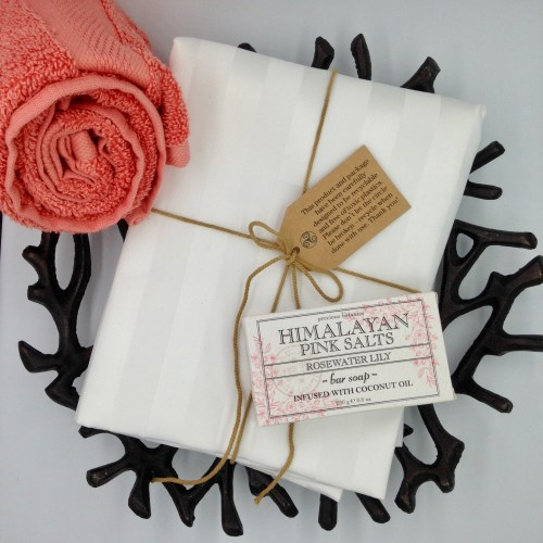 shower curtain liner with coral hand towel and himalayan pink sea salt bath soap