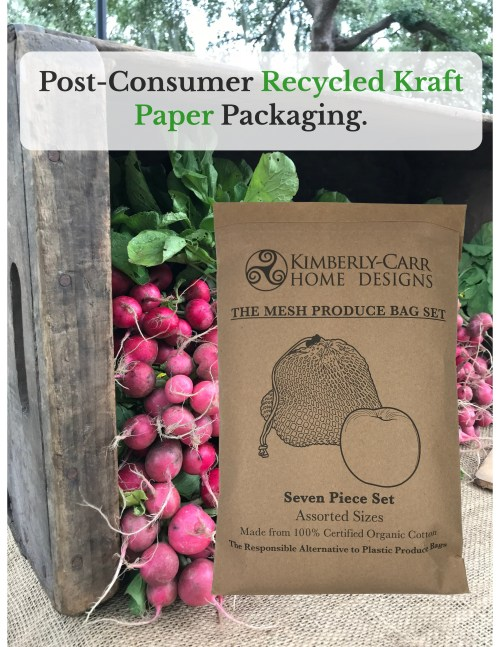 post-consumer recycled kraft paper packaging for organic cotton mesh reusable produce bags set