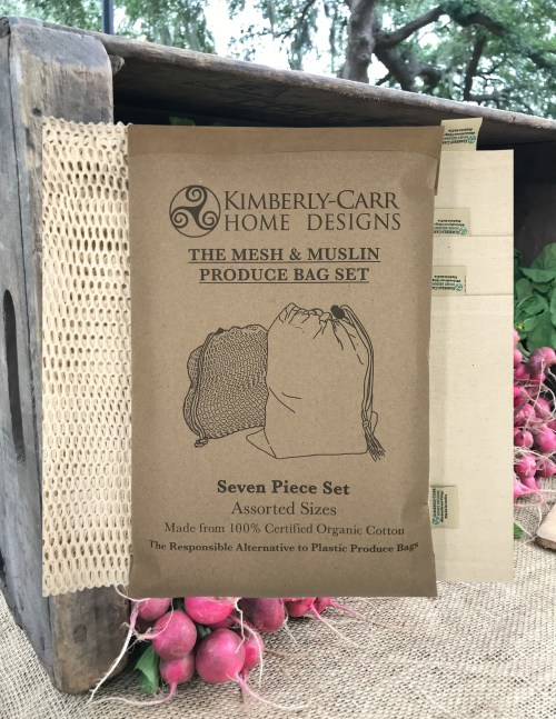 organic cotton mesh & muslin reusable produce bags set with farmer's market fresh radishes