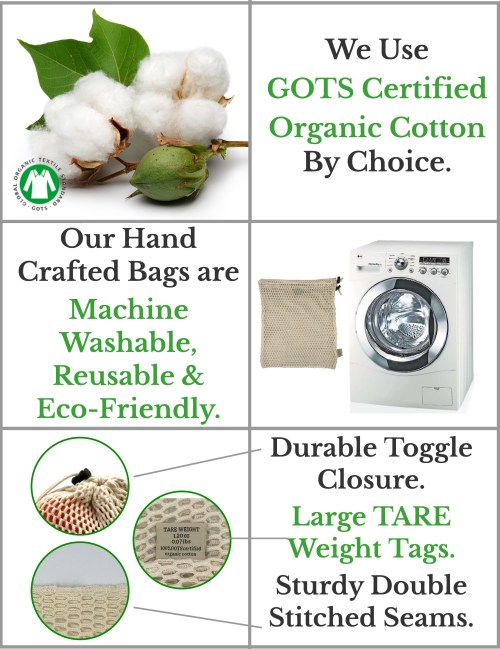 certified organic cotton mesh reusable produce bags set features and benefits infographic
