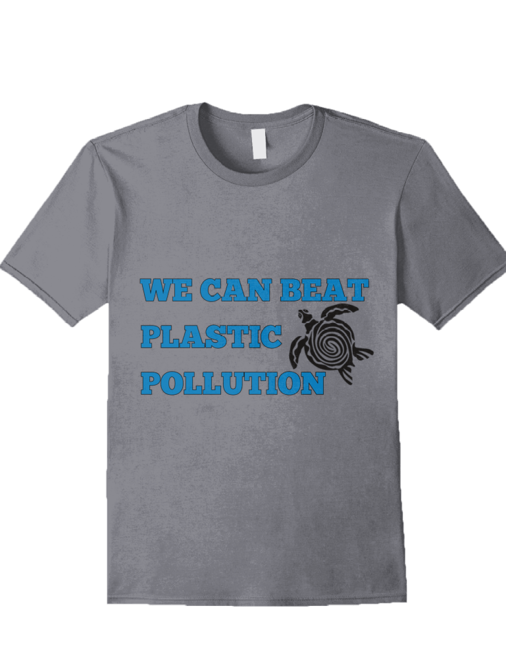 we can beat plastic pollution t-shirt with sea turtle design in grey