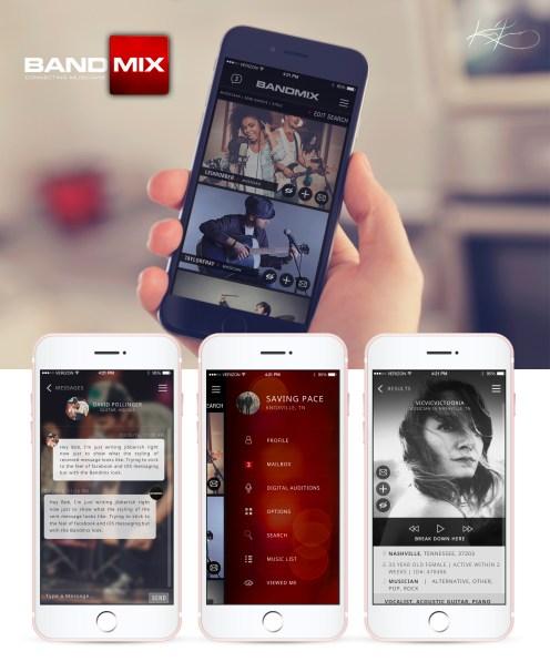 App design and user experience for Bandmix.com.
