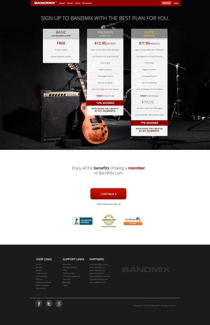 BandMix SignUp responsive design.