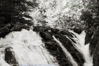 waterfall, new hampshire, black and white, summer, trees, landscape, Kimberly J Tilley