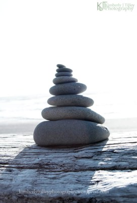 rocks piled on a log at a beach