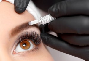 Eyebrow Microblading Procedure CloseUp at Kimberly K Hair Studio
