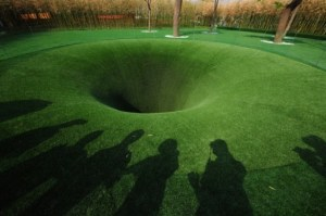 """The Big Dig"" art installation depicting a hole to China from Germany."