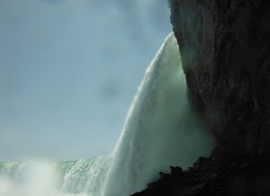 a side view of a waterfall