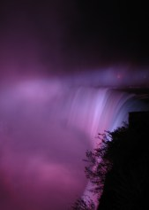 Niagara Falls illuminated purple