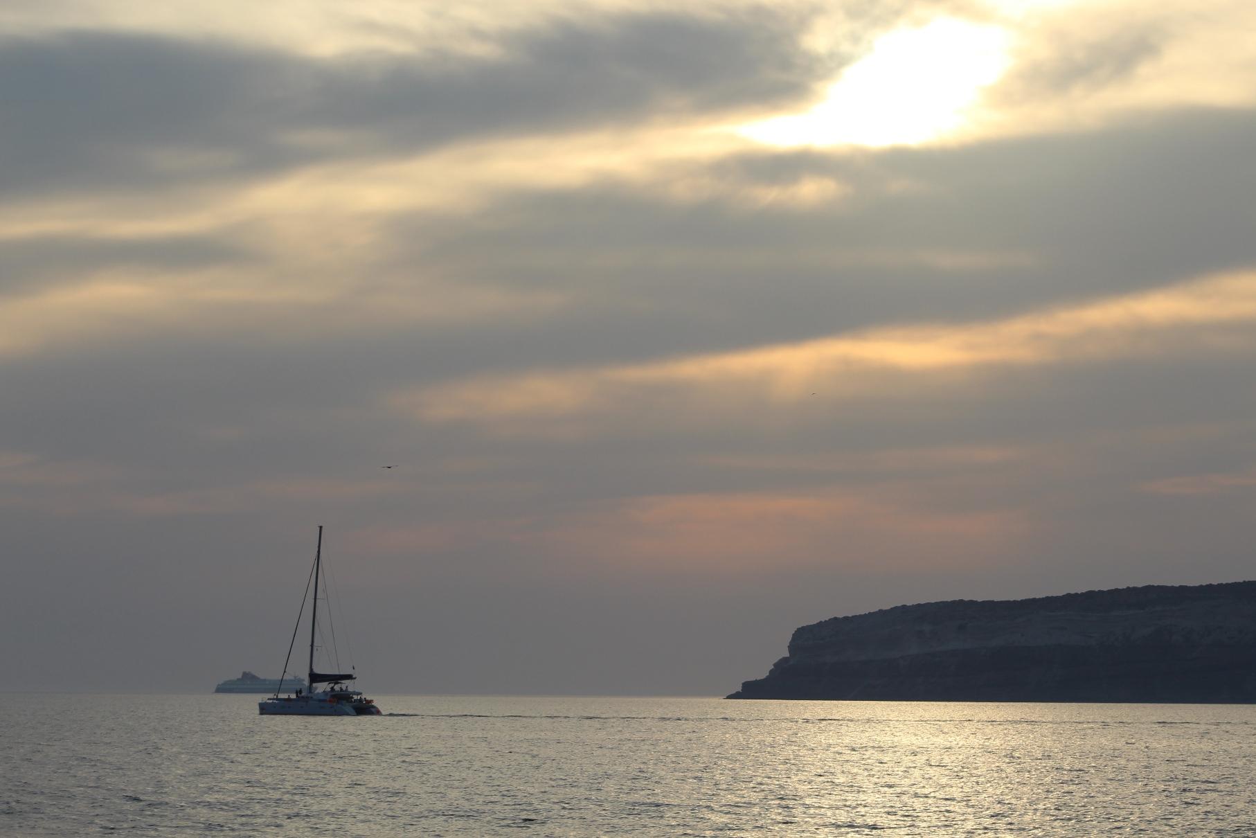 Last Minute Sunset Cruise a Highlight of Santorini Visit