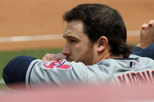 Cleveland Indians second baseman Jason Kipnis watches the game from the visitors dugout at AT&T Park. April 26, 2014.