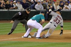 Indians firstbaseman Nick Swisher slides into third base at Safeco Field. Seattle, WA. (June 27, 2014)