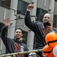 San Francisco Giants outfielder Juan Perez and catcher Andrew Susac at the World Series Victory Parade, October 31, 2014