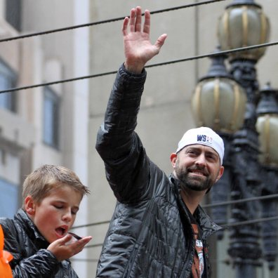 San Francisco Giants reliever Jeremy Affeldt at the World Series Victory Parade, October 31, 2014