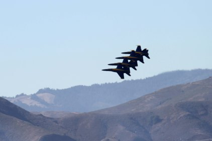 United States Navy Blue Angels with the hills of Marin County in the background. San Francisco Fleet Week 2015.