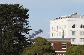 The Blue Angels of the United States Navy fly over San Francisco, CA as part of 2016's Fleet Week. (October 2016)
