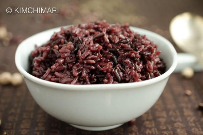 Korean Purple Rice HeukmiBap closeup in white bowl