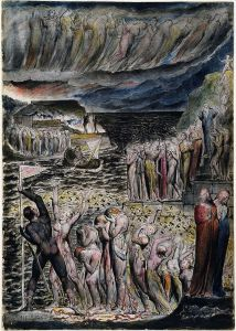 """William Blake's depiction of """"The Vestibule of Hell and the Souls Mustering to Cross the Acheron"""". National Gallery of Victoria."""