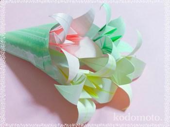 折り紙で花束を作ろう!ゆりの花で作ると豪華になるよ!