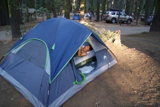 In de tent