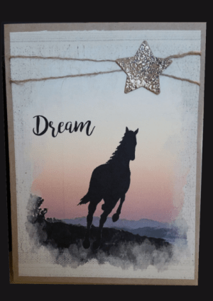 horse racing into sunset dream all occasion card