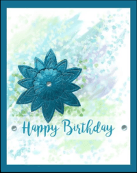 birthday card with watercolor background and cut out layered glitter teal flower