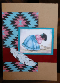 Sia-lea-lea card, she is dressed in native costume, leaning over watching ants, original art print on kraft background with decorative paper, ribbon, and embossed feather
