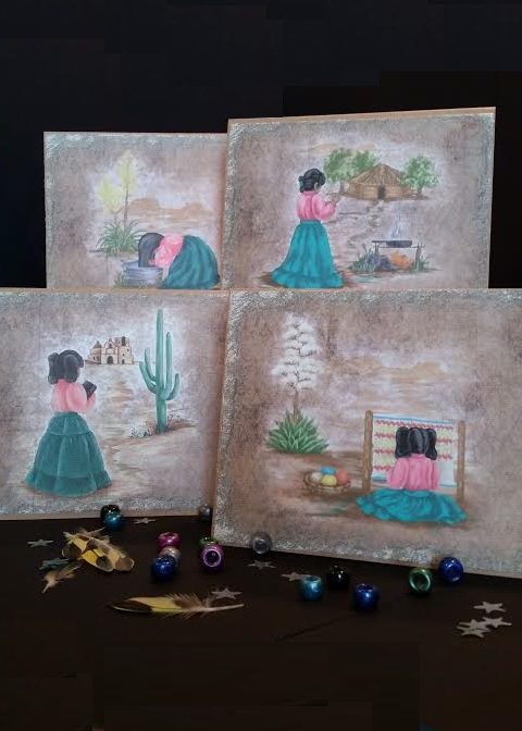 Sia-lea-lea notecards in brown kraft, 4 scenes, 8 cards to a set. Sia-lea-lea washes her hair with aloe, makes frybread, goes to mission, weaves a rug.