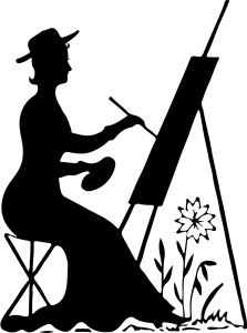 vintage silhouette lady painting plein aire