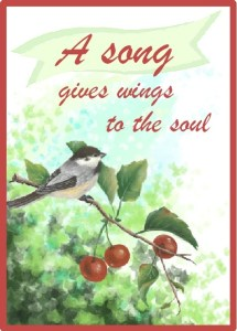 "Mockingbird on a Cherry tree branch with the words, ""a song gives wings to the soul."""