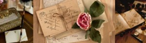 old note cards, stationery, book, rose