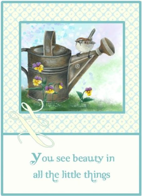 Oil painting of watering can with sparrow and pansies on watercolor background
