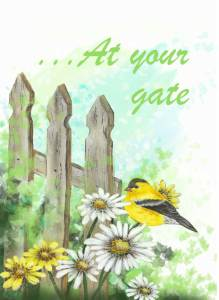 goldfinch on daisy at rustic gate card at your gate it's time to celebrate