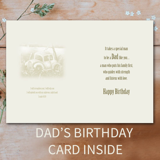 Dads Birthday Card Inside Vintage Cars Original Oil