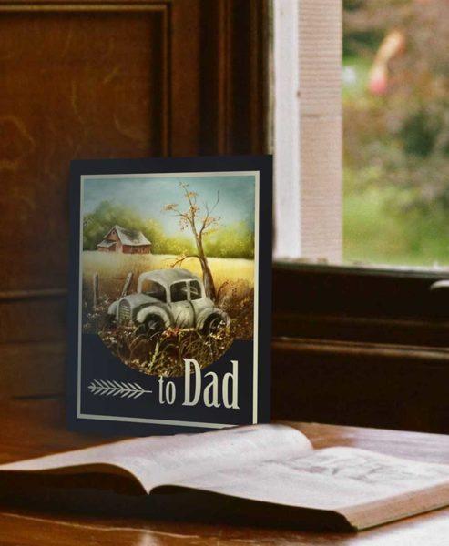 Vintage Car Original Oil Print Father's Day Card 2017
