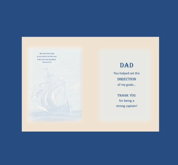 Vintage Ship Father's Day Card 2017 inside