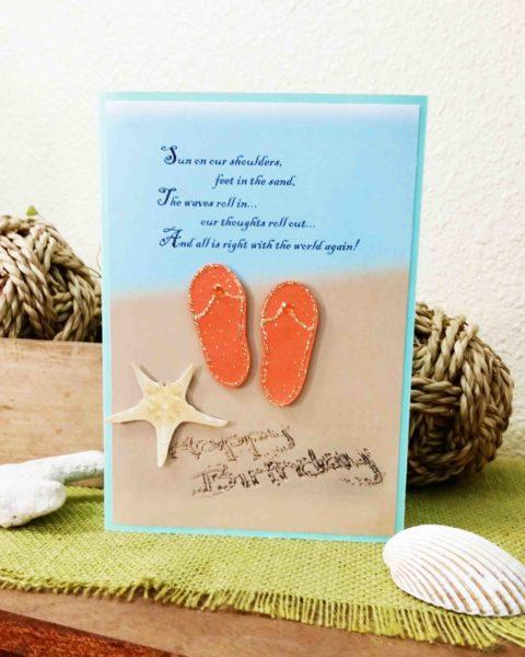 Happy Birthday handmade card sand, flip flops and starfish