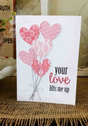 Love lights me up handmade card heart balloons silver string